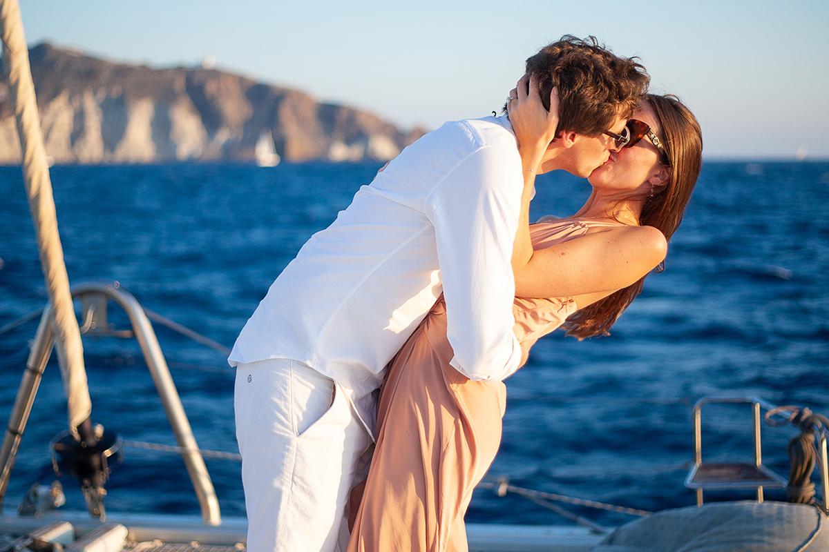 santorini proposal on Yacht