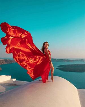 santorini flying dress photography tour