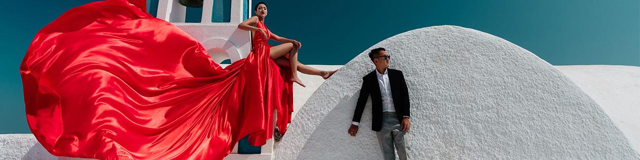 Santorini flying dress photoshoot price