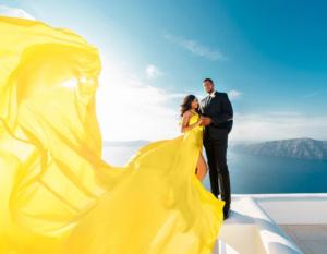 Santorini flying dressphoto shoot price